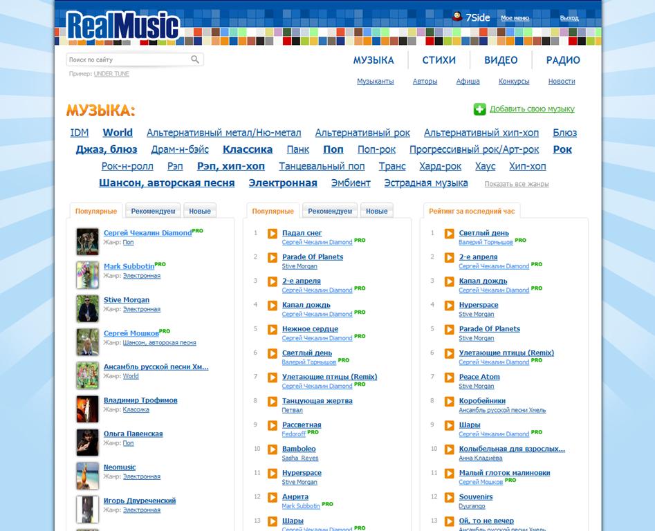 Загрузить музыку в интернет для прослушивания