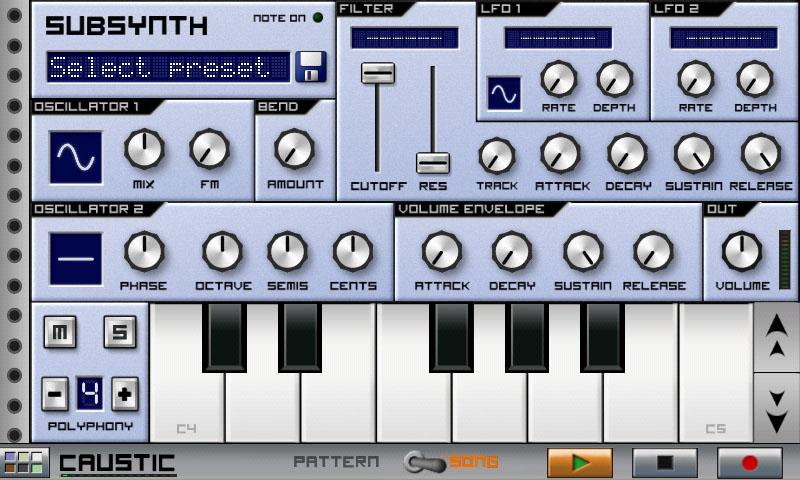Приложения для создания музыки. Caustic Subsynth