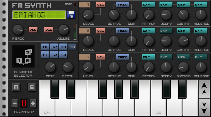 Приложения для создания музыки. Caustic FM Synth