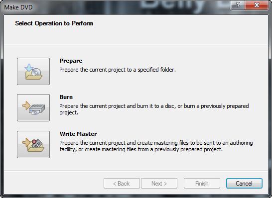 Sony DVD Architect Pro Настройки создания диска