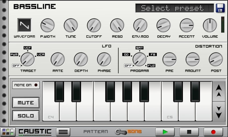 Приложения для создания музыки. Caustic BassLine