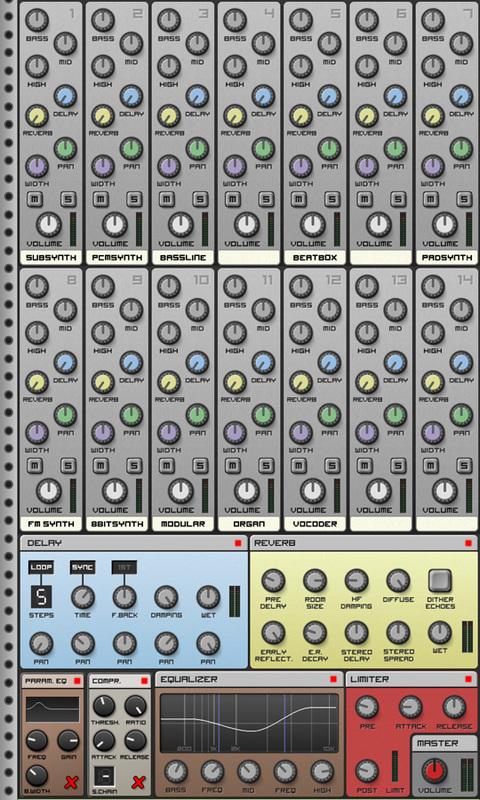 Приложения для создания музыки. Caustic Mixer