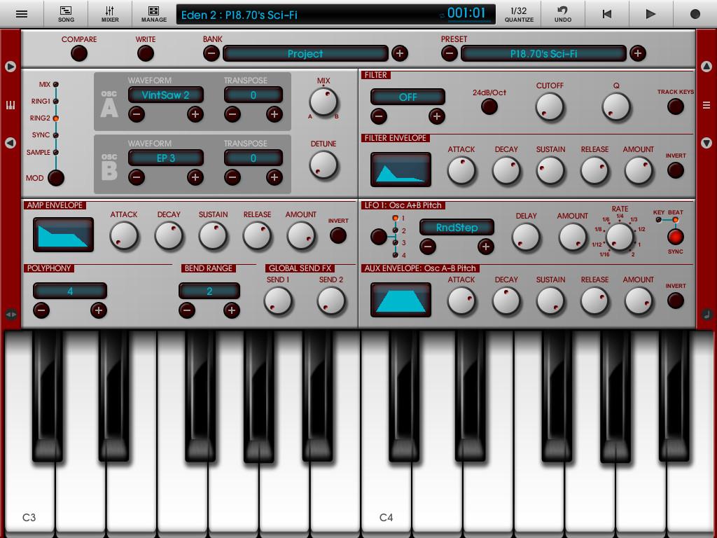 Приложения для создания музыки. Nanostudio Eden
